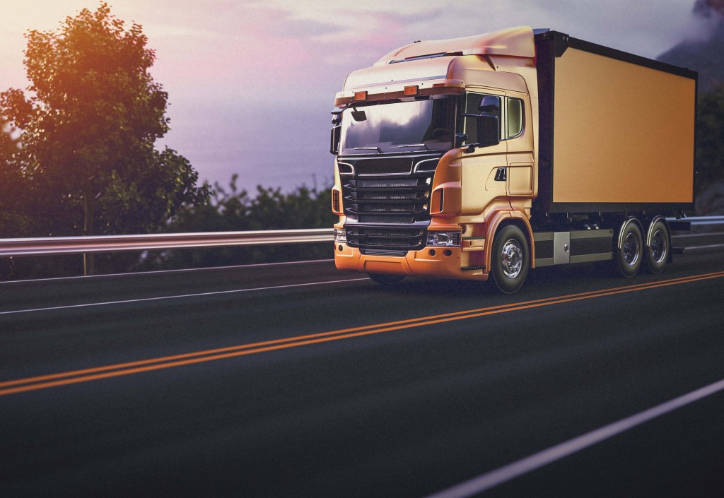 Truck on the road. 3d render and illustration.